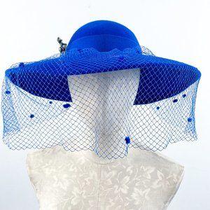 Vintage 100% Wool Wide Brim Flat Hat Pin Veil Blue